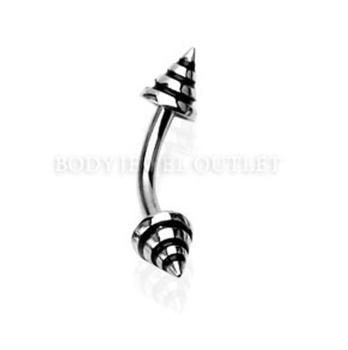 Eyebrow Piercing Steel Spike with Black Stripes | BodyJewelOutlet