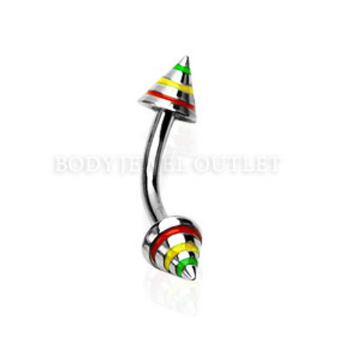 Eyebrow Piercing Steel Spike with Tri-color Stripes | BodyJewelOutlet