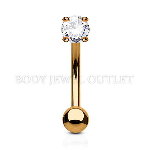 Clear ROUND Prong Set Gem 3mm - Rose Gold IP Steel Ball 3mm - 316L Surgical Steel Rose Gold IP Curve Barbell/Eyebrow Piercing - 16 Gauge (1 Piece)
