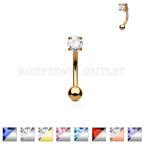 Eyebrow Piercing Rose Gold IP Steel Ball and Clear CZ | BodyJewelOutlet