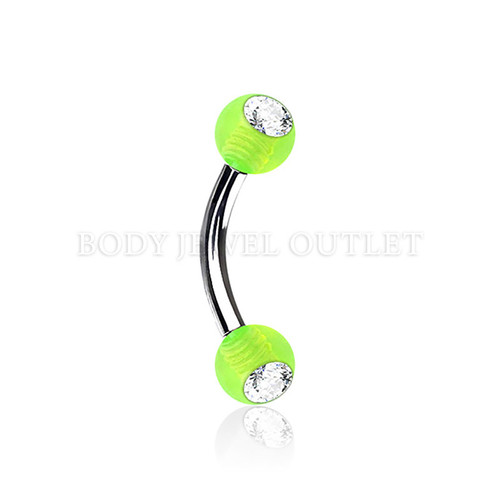 Eyebrow Piercing Steel w/ Clear Gem- Green Acrylic Ball| BodyJewelOutlet
