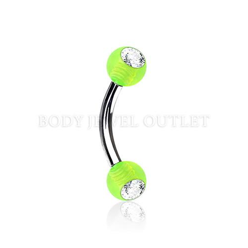 Eyebrow Piercing Steel w/ Clear Gem- Green Acrylic Ball| BodyJewelOutlet