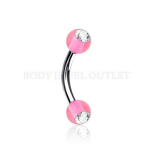Eyebrow Piercing Steel w/ Clear Gem- Pink Acrylic Ball| BodyJewelOutlet