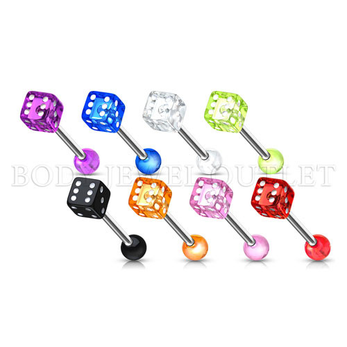 Pink Acrylic DICE Shape - 316L Surgical Steel Straight Barbell/Tongue Piercing- 14 Gauge (1 Piece)