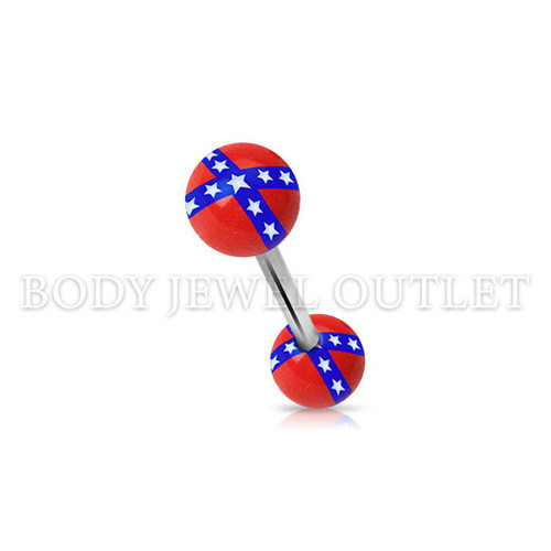 Tongue Piercing Rebel Flag Acrylic Balls | BodyJewelOutlet