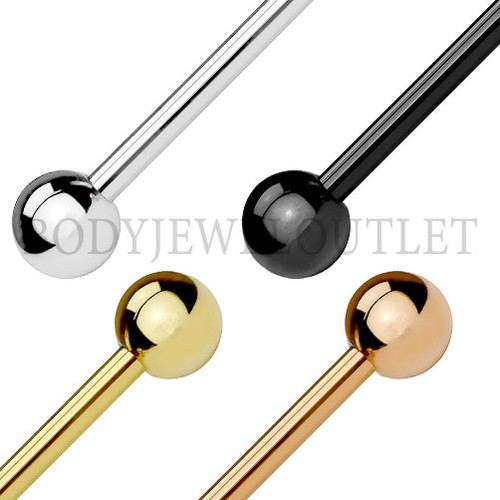 Tongue Piercing Rose Gold Ion Plating Steel   BodyJewelOutlet