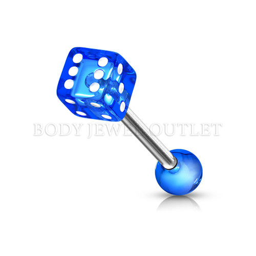 Tongue Piercing Dice Shape Blue Acrylic Balls | BodyJewelOutlet