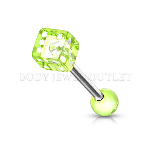 Tongue Piercing Dice Shape Green Acrylic Balls | BodyJewelOutlet