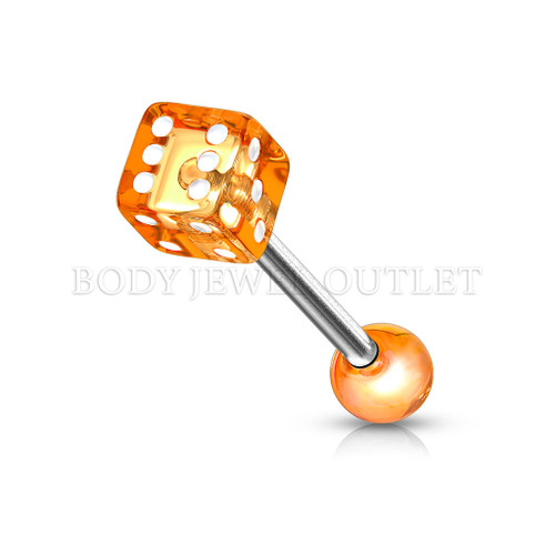 Tongue Piercing Dice Shape Orange Acrylic Balls | BodyJewelOutlet