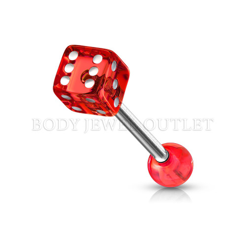 Tongue Piercing Dice Shape Red Acrylic Balls   BodyJewelOutlet