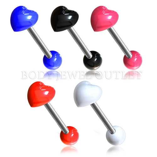 Pink Acrylic HEART Shape - 316L Surgical Steel Straight Barbell/Tongue Piercing- 14 Gauge (1 Piece)