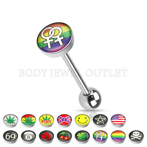 Tongue Piercing Gay Pride Logo Surgical Steel | BodyJewelOutlet