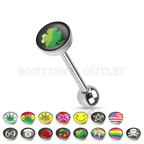 Tongue Piercing Green Clover Logo Surgical Steel | BodyJewelOutlet