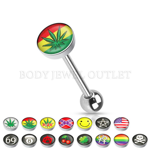 Tongue Piercing Flag with Pot Leaf Logo Steel | BodyJewelOutlet