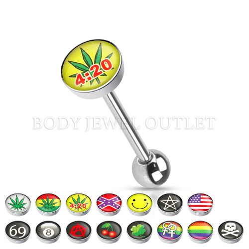Tongue Piercing Pot Leaf with 4:20 Logo Steel | BodyJewelOutlet