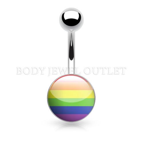 Gay Pride Rainbow Steel Ball - 316L Surgical Steel Belly/Navel Ring Piercing - 14 Gauge (1 Piece)