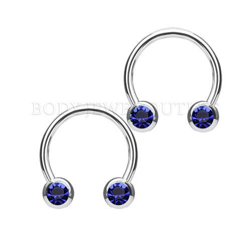Nipple Piercing Surgical Steel Hoop Blue Gem | BodyJewelOutlet