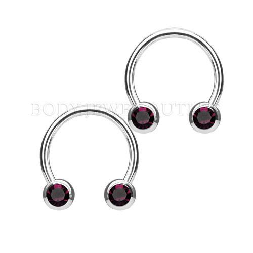 Nipple Piercing Surgical Steel Hoop Purple Gem | BodyJewelOutlet