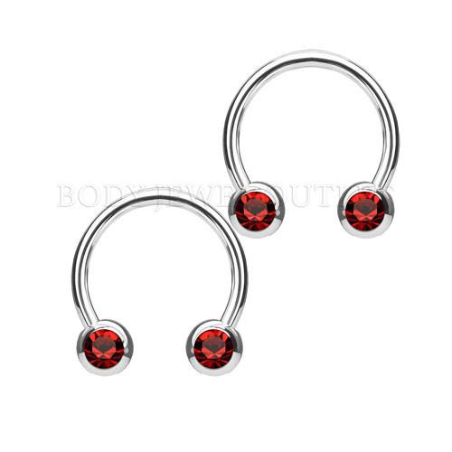 Nipple Piercing Surgical Steel Hoop Red Gem | BodyJewelOutlet
