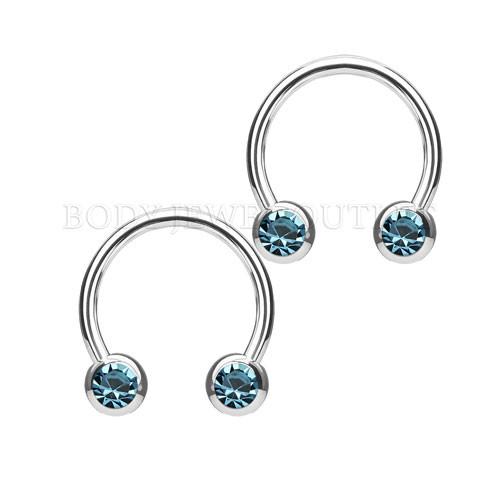 Nipple Piercing Surgical Steel Hoop Aqua Gem | BodyJewelOutlet