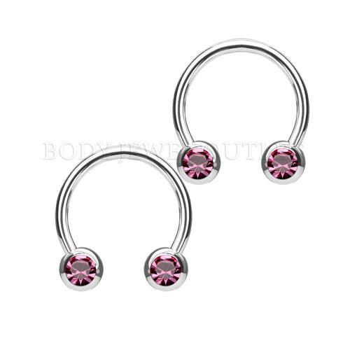 Nipple Piercing Surgical Steel Hoop Pink Gem | BodyJewelOutlet