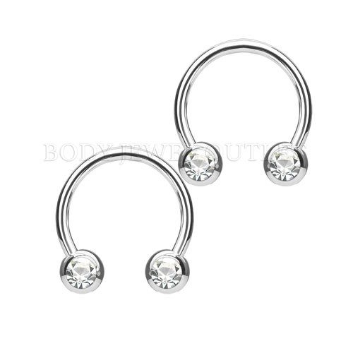 Nipple Piercing Surgical Steel Hoop Clear Gem | BodyJewelOutlet