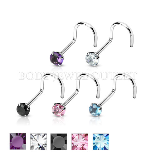 Nose Piercing Bone with Color CZ - Surgical Steel   BodyJewelOutlet