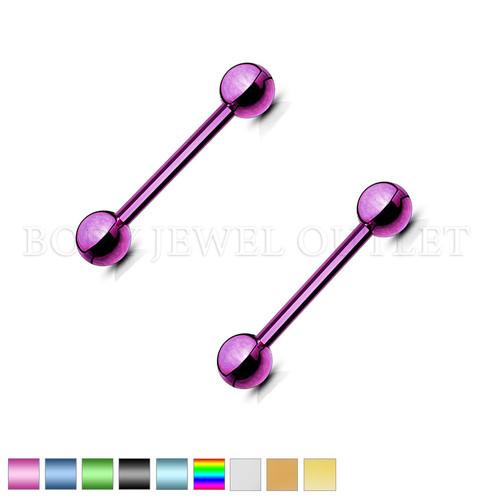 Nipple Piercing Purple Steel Straight Bar | BodyJewelOutlet