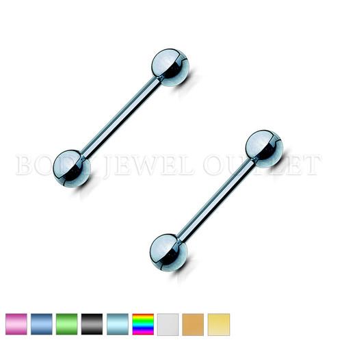 Nipple Piercing Light Blue Steel Straight Bar | BodyJewelOutlet