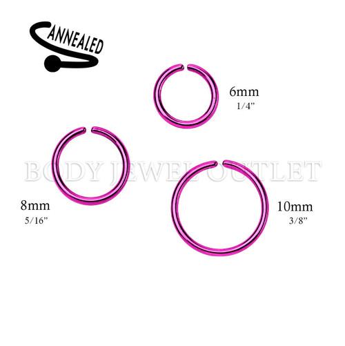 Purple IP Nose Hoop/Ring - 316L Surgical Steel Cut Ring Piercing - 20 Gauge (1 Piece)