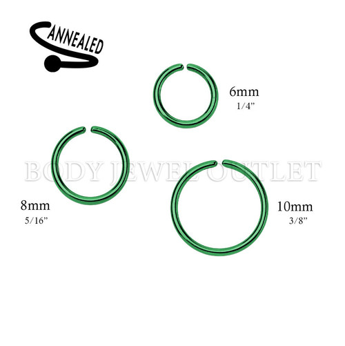 Green IP Nose Hoop/Ring - 316L Surgical Steel Cut Ring Piercing - 20 Gauge (1 Piece)