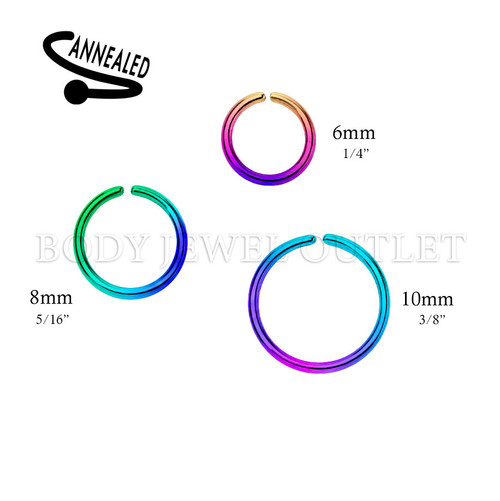Rainbow IP Nose Hoop/Ring - 316L Surgical Steel Cut Ring Piercing - 20 Gauge (1 Piece)