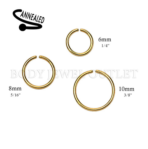 Gold IP Nose Hoop/Ring - 316L Surgical Steel Cut Ring Piercing - 20 Gauge (1 Piece)