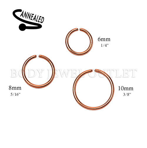 Rose Gold IP Nose Hoop/Ring - 316L Surgical Steel Cut Ring Piercing - 20 Gauge (1 Piece)