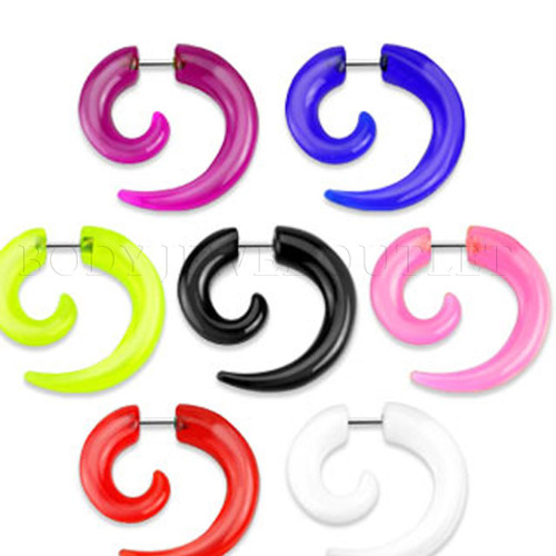 Pink Acrylic Fake Taper - Spiral Look - Screw On Earrings - Pair (2 pieces)