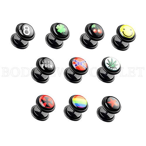Logo Clover In Black - Acrylic Fake Plug - 00G Look - Screw On Earrings - Pair (2 pieces)
