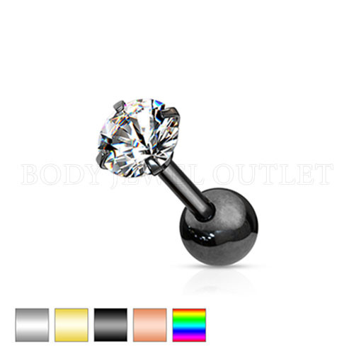 Ear Cartilage CZ Piercing Black Steel Stud | BodyJewelOutlet
