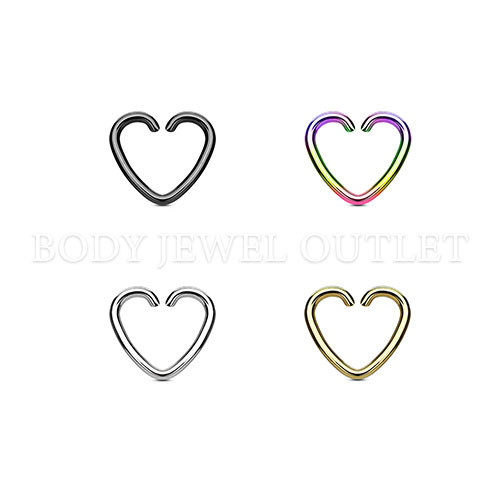 Heart Shape - Black IP Ring - 316L Surgical Steel Cartilage/Tragus Piercing - 16 Gauge (1 Piece)