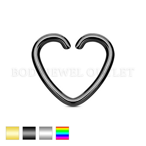Ear Cartilage piercing Black Heart Ring Steel | BodyJewelOutlet