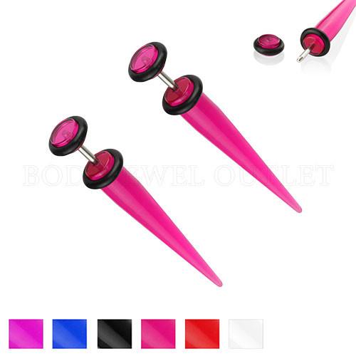 Pink Fake Ear Tapers Acrylic 4G Look- Steel | BodyJewelOutlet