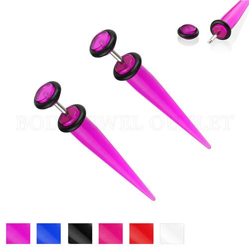 Purple Fake Ear Tapers Acrylic 4G Look- Steel | BodyJewelOutlet