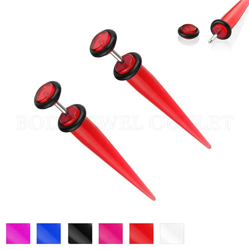 Red Fake Ear Tapers Acrylic 4G Look- Steel | BodyJewelOutlet