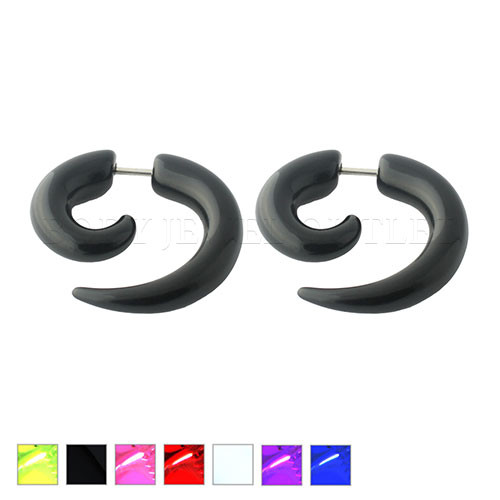 Pink Fake Ear Tapers Acrylic Spiral Look- Steel | BodyJewelOutlet