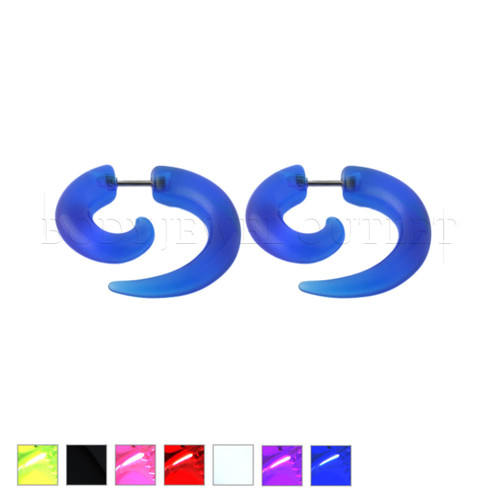 Blue Fake Ear Tapers Acrylic Spiral Look- Steel | BodyJewelOutlet