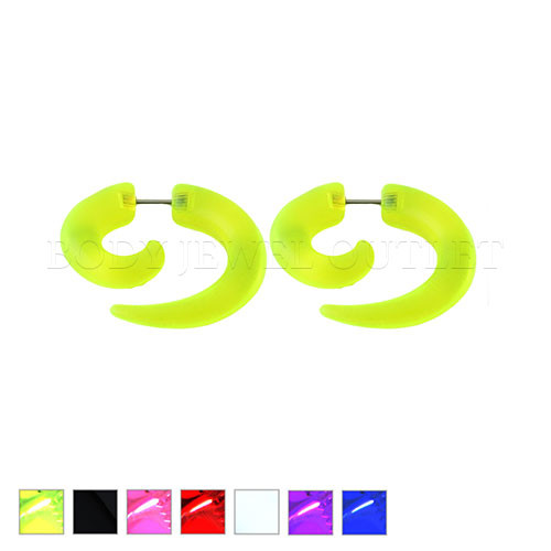 Green Fake Ear Tapers Acrylic Spiral Look- Steel | BodyJewelOutlet