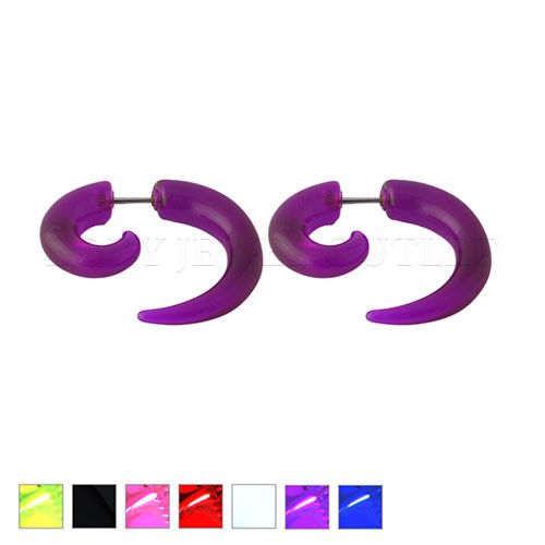 Purple Fake Ear Tapers Acrylic Spiral Look- Steel | BodyJewelOutlet