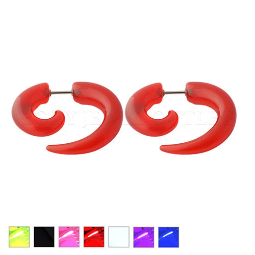 Red Fake Ear Tapers Acrylic Spiral Look- Steel | BodyJewelOutlet