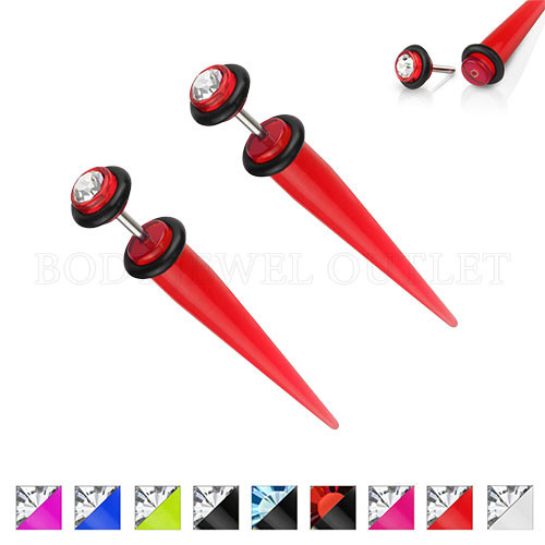 Red Fake Ear Tapers Acrylic 4G Look Clear Gem | BodyJewelOutlet