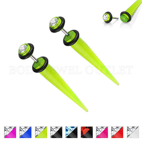 Green Fake Ear Tapers Acrylic 4G Look Clear Gem | BodyJewelOutlet