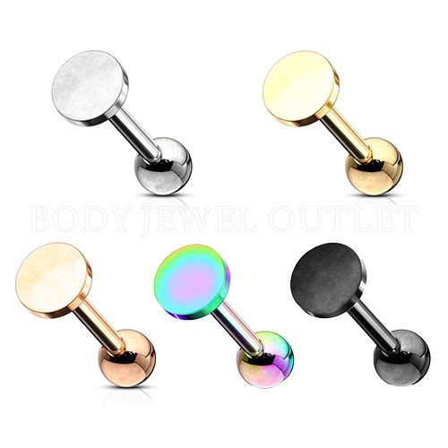 Flat Circle Top - Gold IP Stud - 316L Surgical Steel Cartilage/Tragus Piercing - 16 Gauge (1 Piece)
